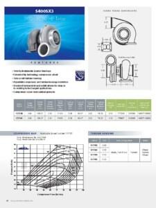 BorgWarner S400SX3 500-1050 HP Turbocharger Product Specification Sheet