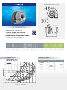 BorgWarner S400SX4 750-1250 HP Turbocharger Product Specification Sheet