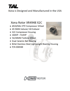 This is a screenshot of a TiAL Xona catalog page for the Xona Rotor XR4948 X2C showing product details.