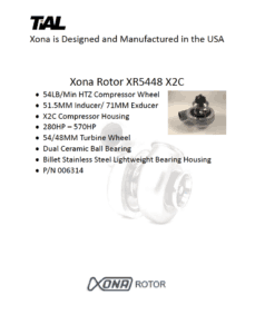 This is a screenshot of a TiAL Xona catalog page for the Xona Rotor XR5448 X2C showing product details.