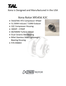 This is a screenshot of a TiAL Xona catalog page showing product details for the Xona Rotor XR5456 X2C.