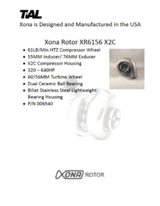 This is a screenshot of a TiAL Xona catalog page showing product details for the Xona Rotor XR6156 X2C.