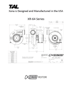 This is a screenshot of a TiAL Xona catalog page showing diagrams of the XR-64 series.