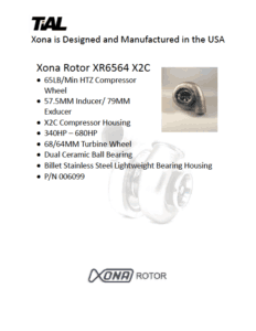 This is a screenshot of a TiAL Xona catalog page showing product details for the Xona Rotor XR6564 X2C.