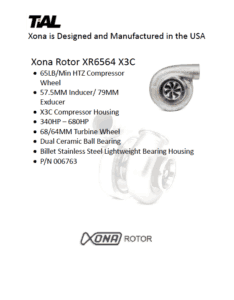 This is a screenshot of a TiAL Xona catalog page showing product details for the Xona Rotor XR6564 X3C.
