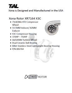 This is a screenshot of a TiAL Xona catalog page showing product details for the Xona Rotor XR7164 X3C.