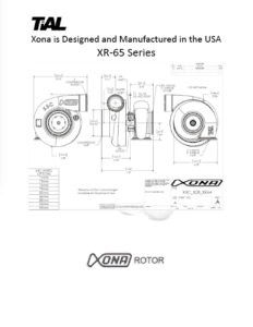 This is a screenshot of a TiAL Xona catalog page showing diagrams of the XR-65 series.
