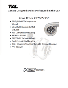 This is a screenshot of a TiAL Xona catalog page showing product details for the Xona Rotor XR7865 X3C.