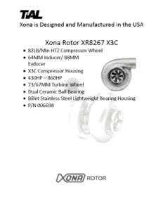 This is a screenshot of a TiAL Xona catalog page showing product details for the Xona Rotor XR8267 X3C.
