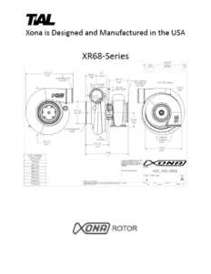 This is a screenshot of a TiAL Xona catalog page showing diagrams of the XR-68 series.