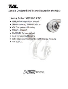 This is a screenshot of a TiAL Xona catalog page showing product details for the Xona Rotor XR9568 X3C.