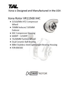 This is a screenshot of a TiAL Xona catalog page showing product details for the Xona Rotor XR11568 X3C.