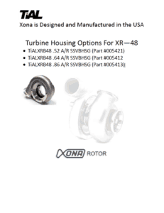 This is a screenshot of a TiAL Xona catalog page showing turbine housing options for the XR-48 series.