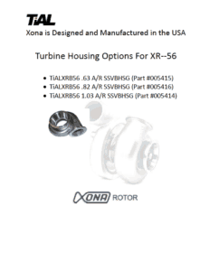 This is a screenshot of a TiAL Xona catalog page showing turbine housing options for the XR-56 series.