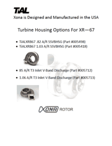 This is a screenshot of a TiAL Xona catalog page showing turbine housing options for the XR-67 series.