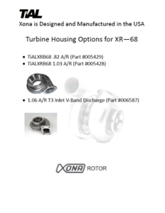 This is a screenshot of a TiAL Xona catalog page showing turbine housing options for the XR-68 series.