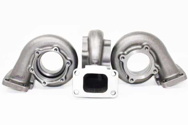This is a T3 Inlet 4 Bolt T31 Outlet Turbine Housing set